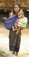 mom-with-two-babies Laos
